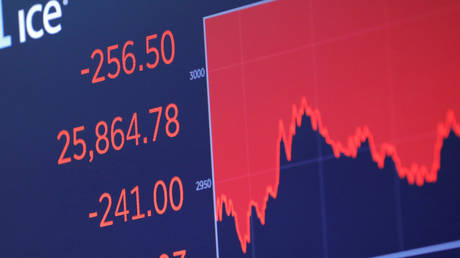 The Dow Jones Industrial Average is displayed after closing bell on floor of the New York Stock Exchange (NYSE)