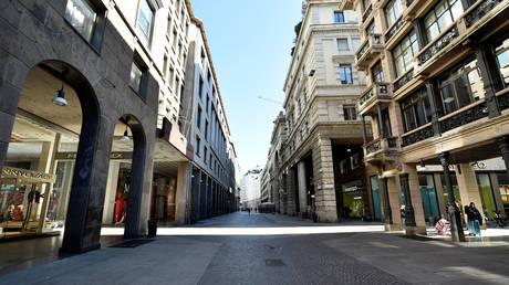 Empty street in Milan, Italy