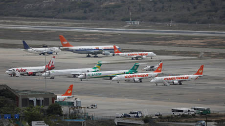 FILE PHOTO: Conviasa airliners are seen at the Simon Bolivar airport in Caracas, Venezuela.