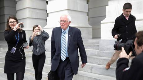 Senator Bernie Sanders departs US Capitol in Washington