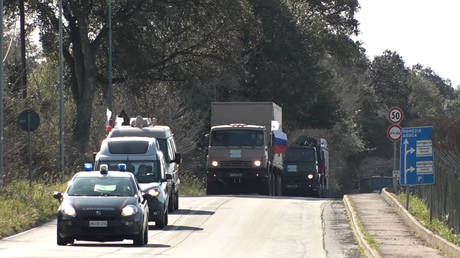Russian military medical convoy makes 600km march to the heart of Italy