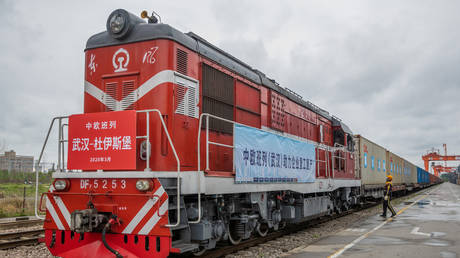 A train bound for Duisburg leaves Wuhan, China. March 28, 2020. © China Daily / Reuters