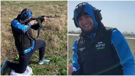 Khabib takes to the firing range as father Abdulmanap confirms UFC star IS STILL in Russia despite impending lockdown