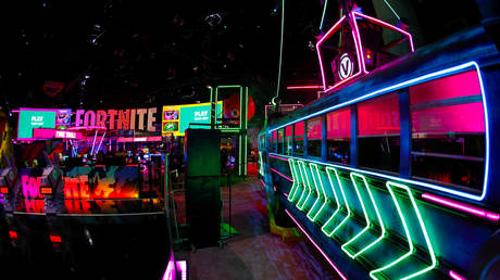 FILE PHOTO: Epic Games booth for Fortnite is shown at E3, in Los Angeles © Reuters / Mike Blake