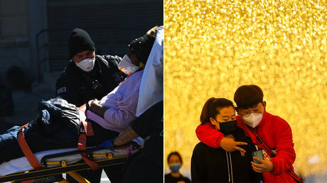 (L) Paramedics carry a stretcher with a patient out of an ambulance at Brooklyn Hospital Center on March 27, 2020 © AFP / Angela Weiss; (R) People walk at a commercial street in Wuhan, central China's Hubei Province, March 30, 2020 © Global Look Press / Shen Bohan
