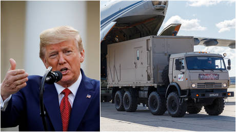 (L) US President Donald Trump; (R) Russian servicemen load medical equipment and disinfection vehicles into cargo planes bound for Italy.