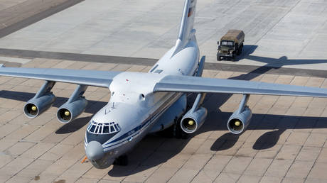 A Russian Il-76 transport military aircraft is loaded with medical aid to be sent to Italy amid the Covid-19 pandemic.
