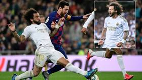 'He's celebrating like he scored!' Fired-up Marcelo goes wild after tackling Messi as Real down Barcelona in El Clasico (VIDEO)