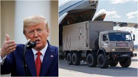 """«Ευτυχώς έκπληκτος»;  Ο Trump δηλώνει ότι η Ρωσία έστειλε πολύ """"πολύ μεγάλο"""" βοήθημα στις ΗΠΑ για την καταπολέμηση της Covid-19"""
