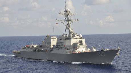 FILE PHOTO: A US Navy guided-missile destroyer USS Gravely underway during a multinational exercise conducted in the western Caribbean Sea.