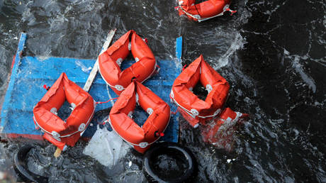 FILE PHOTO. Flotation devices are seen in the area where a migrant boat capsized off the Italian coast on November 24, 2019.