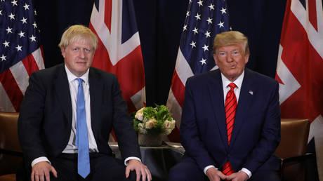 US President Donald Trump with British Prime Minister Boris Johnson in New York City, September 24, 2019.