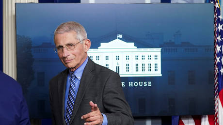 Dr. Anthony Fauci at daily coronavirus task force briefing at the White House in Washington
