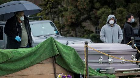 Mourners attend funeral at The Green-Wood Cemetery, amid the coronavirus outbreak in the Brooklyn, New York
