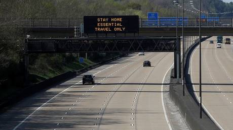 General view of a quiet M25 near Cobham as the spread of the coronavirus disease continues, Cobham, Britain, April 10, 2020.