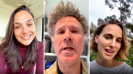 Gal Gadot, Will Ferrel and Natalie Portman singing 'Imagine' to lift spirits amid the coronavirus outbreak © Twitter