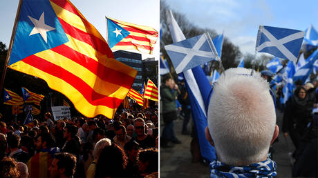 (L) Catalan pro-independence demonstrators. Barcelona, Spain. October 26, 2019 © Reuters / Sergio Perez; (R) Activists attend a pro-Scottish independence demonstration in Edinburgh on February 1, 2020 © AFP / Andy Buchanan