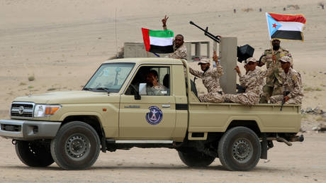 The UAE-backed separatist Southern Transitional Council fighetrs in Aden, Yemen. July 2019. © Reuters / Fawaz Salman