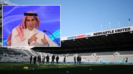 Newcastle's St James' Park home and Saudi Arabia's Yasir Al-Rumayyan, who is set to become chairman.