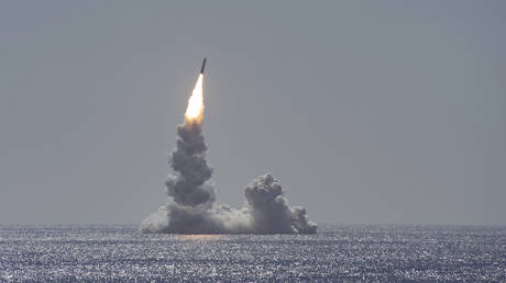 Trident II (D5LE) missile test launch from the Ohio-class submarine USS Maine off the coast of San Diego, California, Feb. 12, 2020.