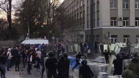 Anti-quarantine protesters inspired by Covid-19-denying former opera singer hurl stones, clash with police in Vladikavkaz