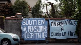 'Political repression': Woman detained by police in France for displaying 'Macronavirus' banner on garden wall