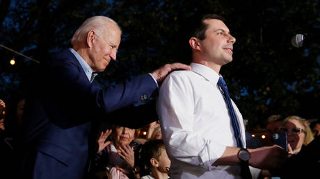 FILE PHOTO: Former Democratic presidential candidate Pete Buttigieg endorses former US Vice President Joe Biden