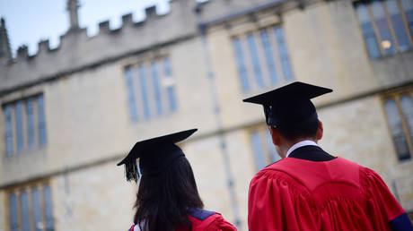 Graduates outside the Sheldonian Theatre after a graduation ceremony at Oxford University, in Oxford, Britain, July 15, 2017