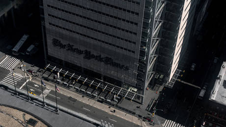 The New York Times building in Manhattan, New York City, March 15, 2020.