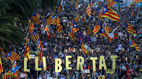 Demonstrators call for the release of jailed separatist leaders in Barcelona, Spain, October 26, 2019