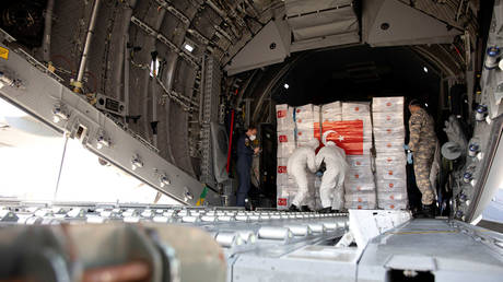 Personal protective equipment (PPE) delivered from Turkey into a Royal Air Force base in Carterton, Britain, April 10, 2020.