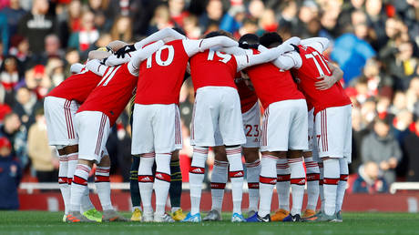 Arsenal team before a Premier League match against Sheffield United. Emirates Stadium, London. January 18, 2020 © Reuters / Peter Nicholls