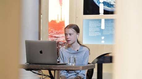 Environmental activist Greta Thunberg participates in a video conversation at the Nobel Museum in Stockholm, Sweden, April 22, 2020 © Reuters / Jessica Gow