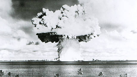 FILE PHOTO: A 63-kiloton nuclear warhead is seen detonating under water as part of the US' Operation Crossroads, conducted at Bikini Atoll in July 1946.