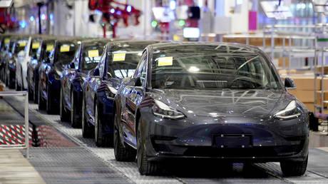 Tesla China-made Model 3 vehicles at its factory in Shanghai, China