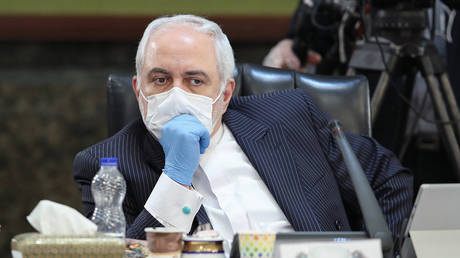 Javad Zarif is seen wearing a mask and a pair of gloves © Iranian Presidency / AFP