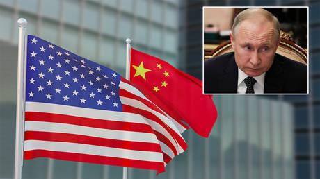 Main: American and Chinese flags © Getty Images / Simon Lehmann; inset: Vladimir Putin © Reuters / Kremlin / Mikhail Klimentyev