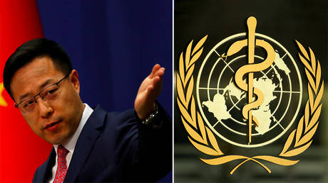 (L) Chinese Foreign Ministry spokesman Zhao Lijian © Reuters / Carlos Garcia Rawlins; (R) The WHO logo © Reuters / Pierre Albouy