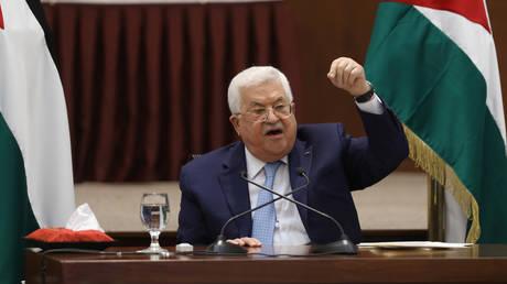Palestinian President Mahmoud Abbas speaks during a leadership meeting in Ramallah