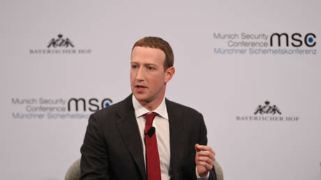FILE PHOTO Facebook Chairman and CEO Mark Zuckerberg speaks during the annual Munich Security Conference in Germany, February 15, 2020. © REUTERS/Andreas Gebert