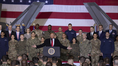 US President Donald Trump at the signing ceremony for S.1709, The National Defense Authorization Act for Fiscal Year 2020 on December 20, 2019 in Joint Base Andrews, Maryland