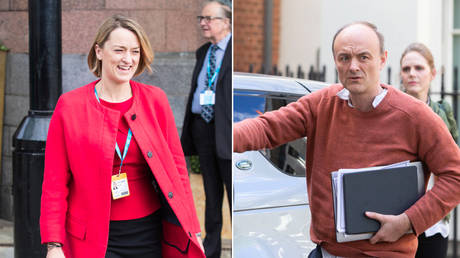 The BBC's Laura Kuenssberg (left) is under fire for her defence of Dominic Cummings (right). © Global Look Press/ Joel Goodman; © Global Look Press/Mark Thomas