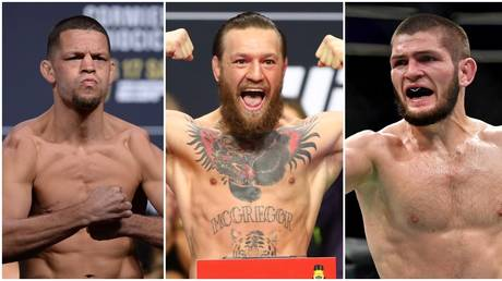 Conor McGregor (C) drew responses from Nate Diaz (L) and Khabib (R) with his GOATs of MMA list. © Reuters / USA Today Sports