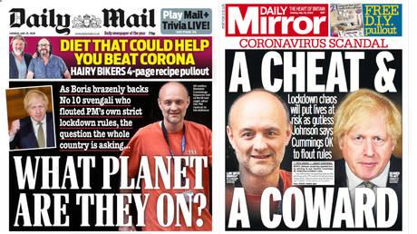 UK newspapers blasted Boris Johnson on Monday. © Twitter/ Daily Mirror, Daily Mail