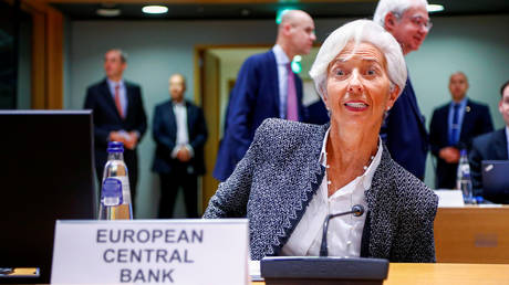 European Central Bank (ECB) President Christine Lagarde attends a Euro zone finance ministers meeting in Brussels, Belgium.