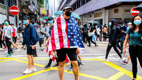 Hong Kong street protester during the 24th May protests in the Causeway Bay district in Hong Kong, China, on Sunday, May 24, 2020