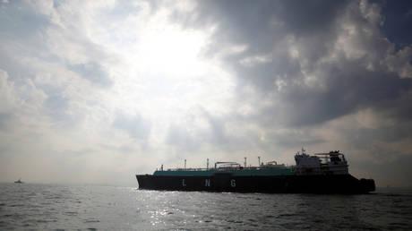 FILE PHOTO - A liquefied natural gas (LNG) carrying vessel sails at Tokyo Bay, Japan.