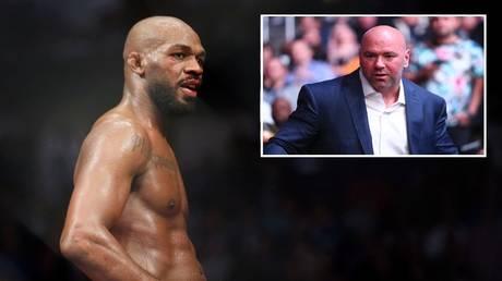 UFC light heavyweight champion Jon Jones and promotion boss Dana White. © USA TODAY Sports