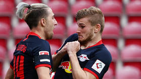 Keep your distance! Liverpool target Timo Werner bags Bundesliga hat-trick - but teammate gets too close for comfort