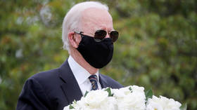 Is that you, Joe? Biden's mask-sunglasses combo covers entire face at first public appearance in over 2 months
